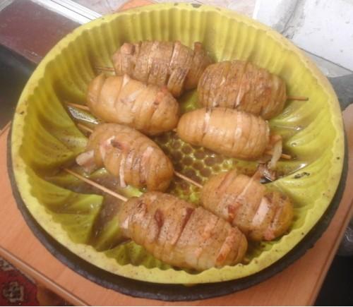 Картофель веером