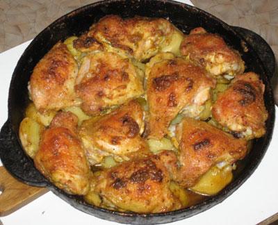 Запеченная курица кусочками в духовке с картошкой рецепт