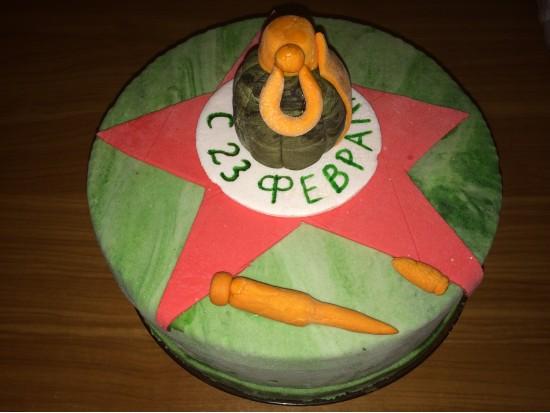 Торт с мастикой к 23 февраля
