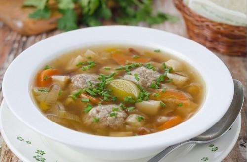 Рецепт овощного супа с мясными фрикадельками