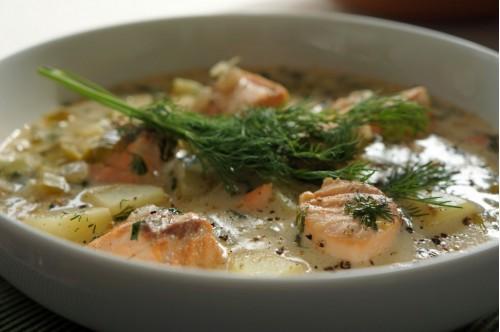 Финский суп из лосося со сливками фото