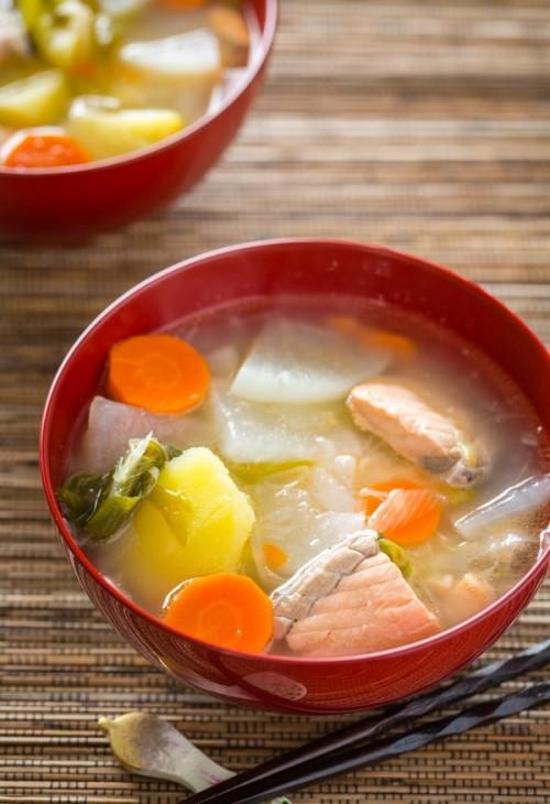Рецепт супа с лососем по-японски