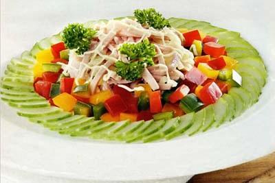 рецепт салата из огурцов с ветчиной